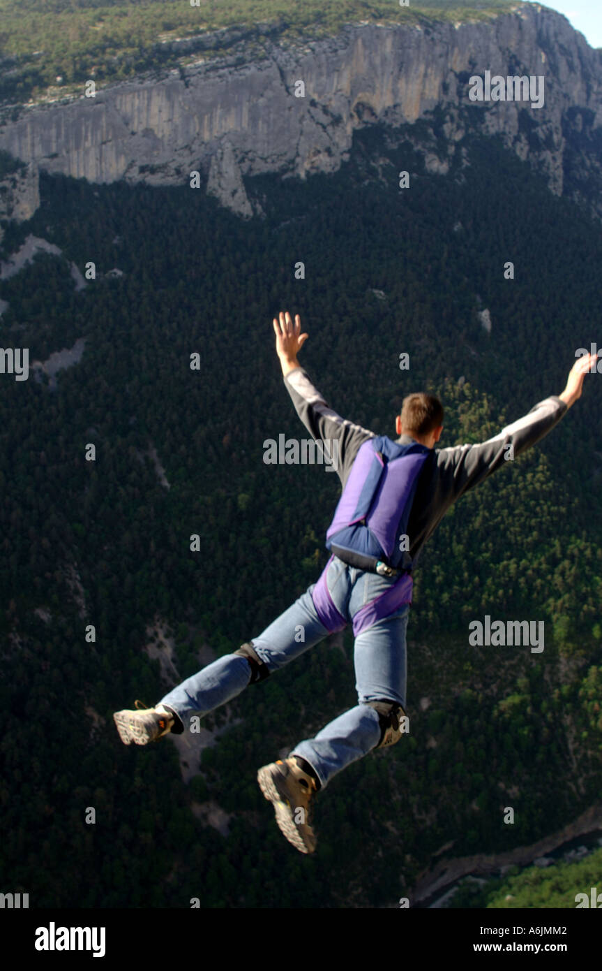 basejumper in the french alps, France - Stock Image
