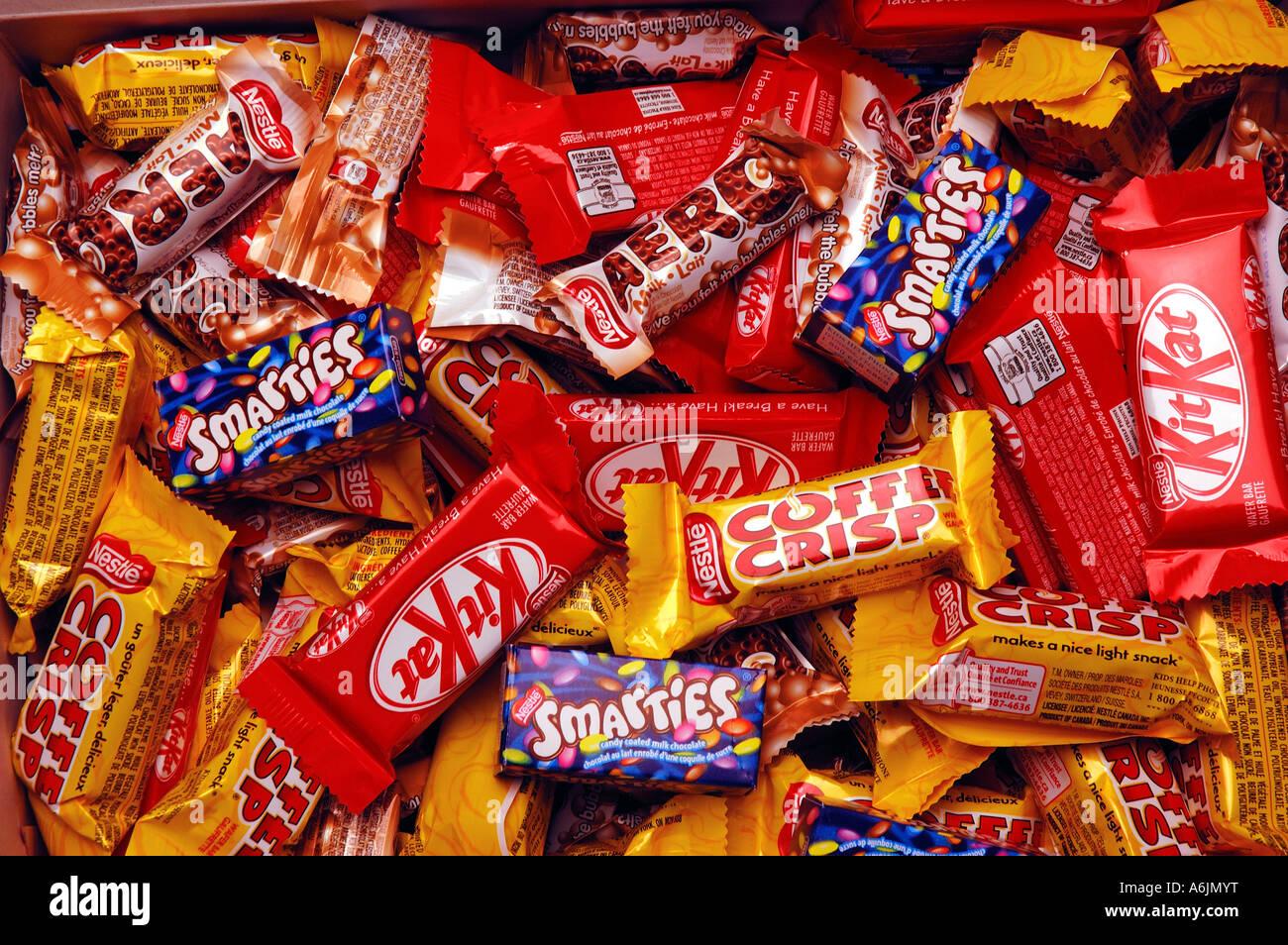 Assorted mini chocolate bars - Stock Image