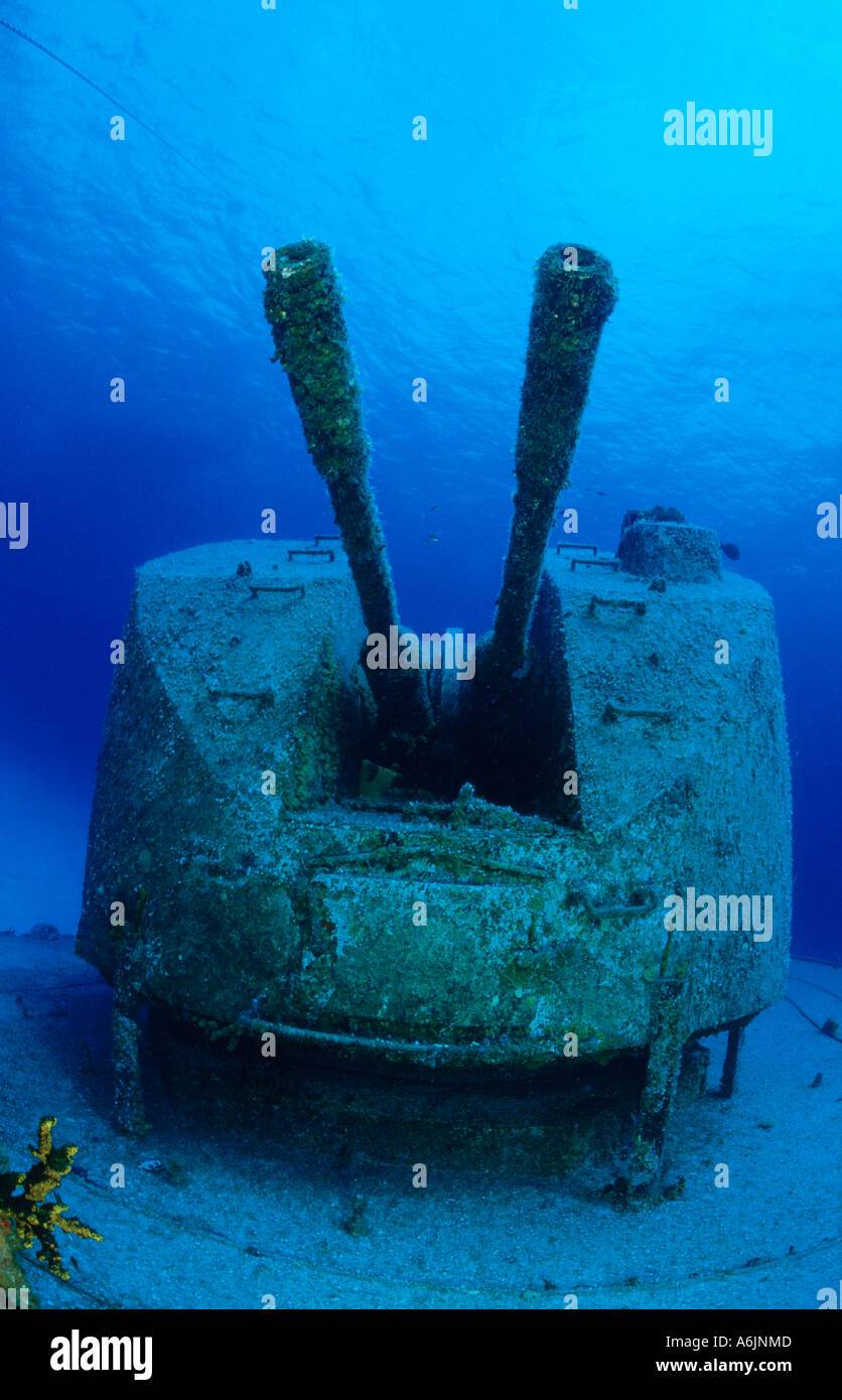 ship wreck with big guns 'Captain Keith Tibbetts' - Stock Image