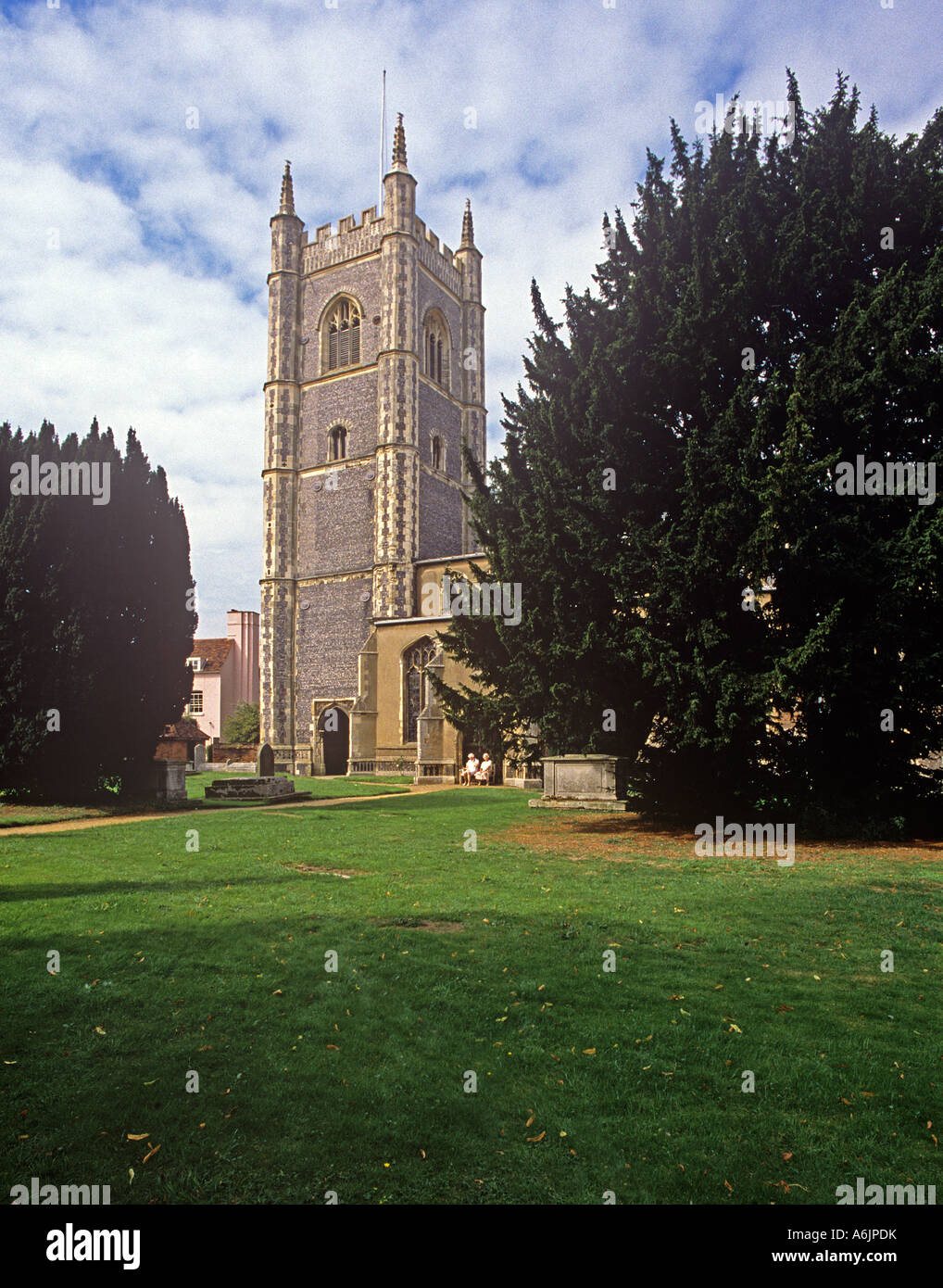 The Pinnacled tower of the Church of St Mary in Dedham appears in many of the paintings of John Constable - Stock Image
