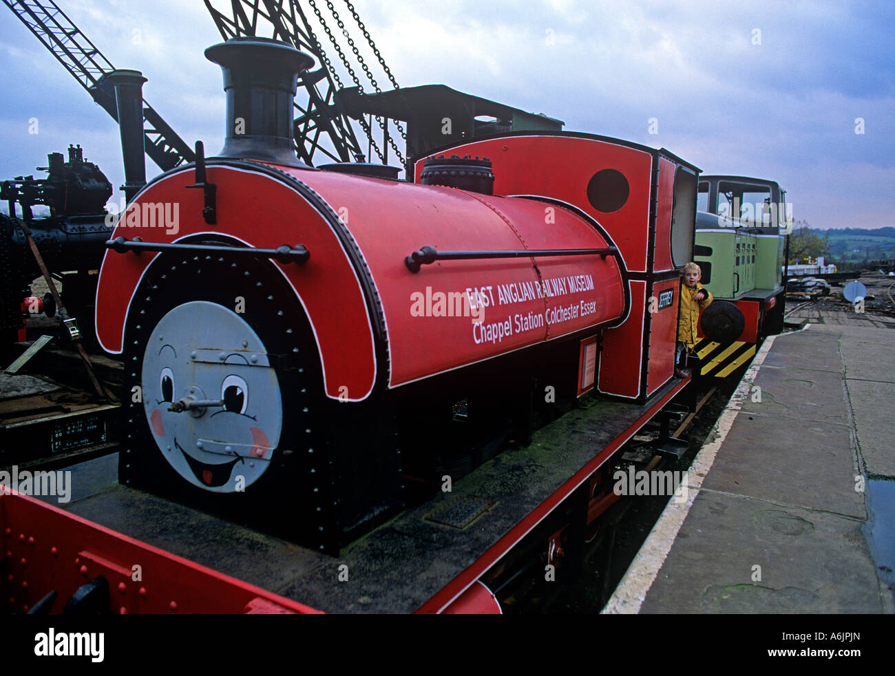 Painted steam engine Jeffrey from Thomas The Tank Engine stories Chappel Station Wakes Colne near Cochlester - Stock Image