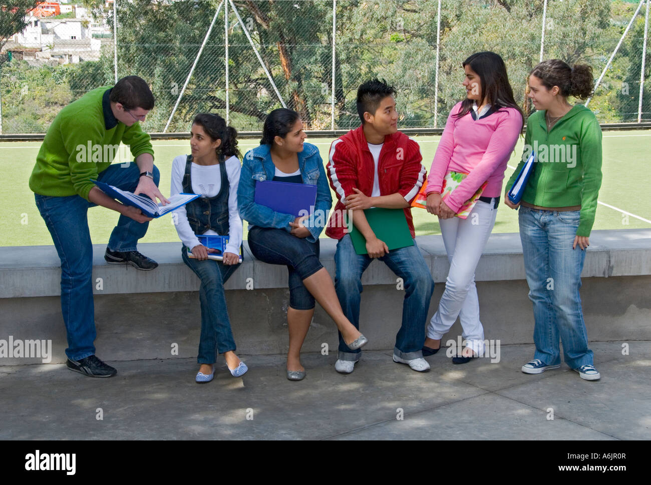Group of six senior teenagers meet up and talk in sunny school playground campus - Stock Image