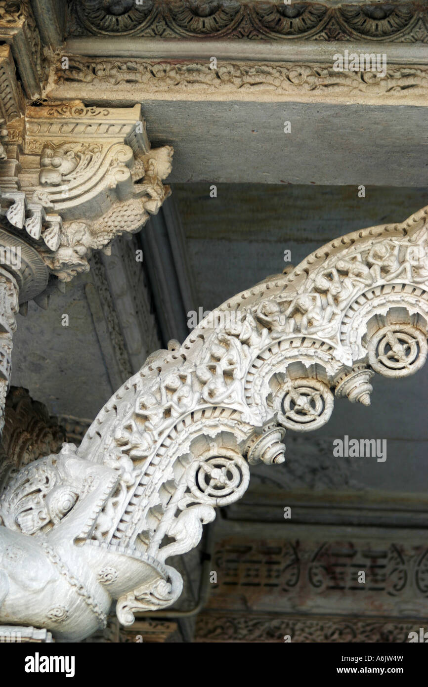 spectacular,white marble,intricately carved,Hathee Singh Jain 19th century Temple at Ahmedabad in Gujarat,India - Stock Image