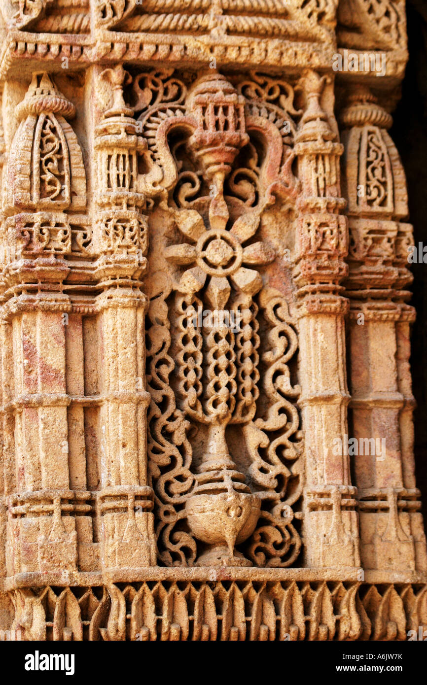 Detail of the exquisitely carved historic Adalaj Step-well near Ahmedabad,Gujarat,India Stock Photo