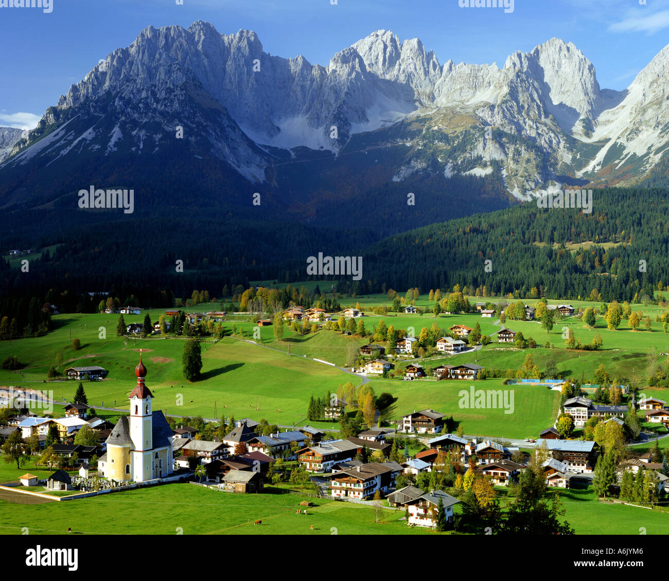 AT - TYROL:  Village of Going and Wilder Kaiser Mountain Range - Stock Image