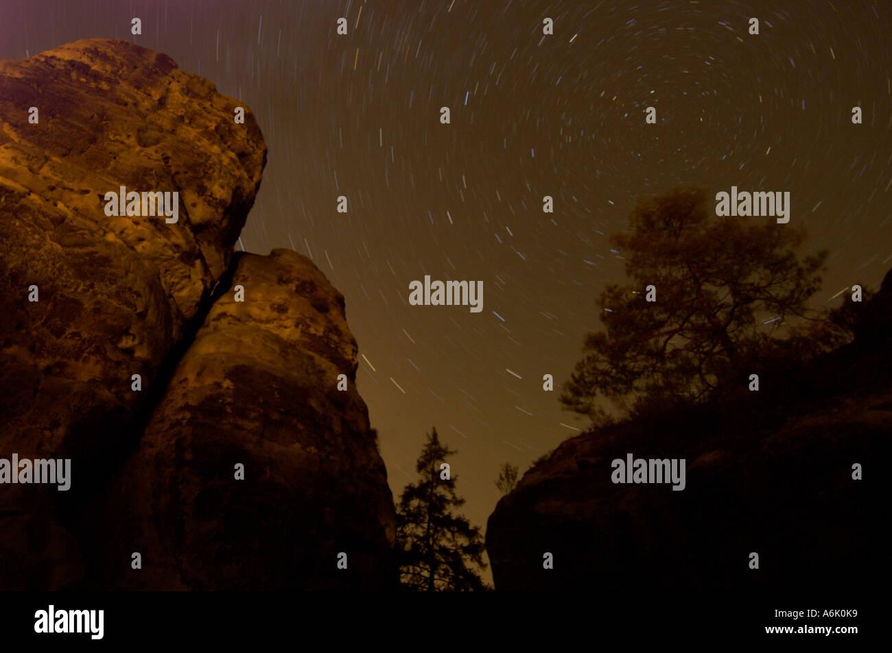 starry sky with rocks in Saxon Switzerland NP, Germany, Saxony Stock Photo