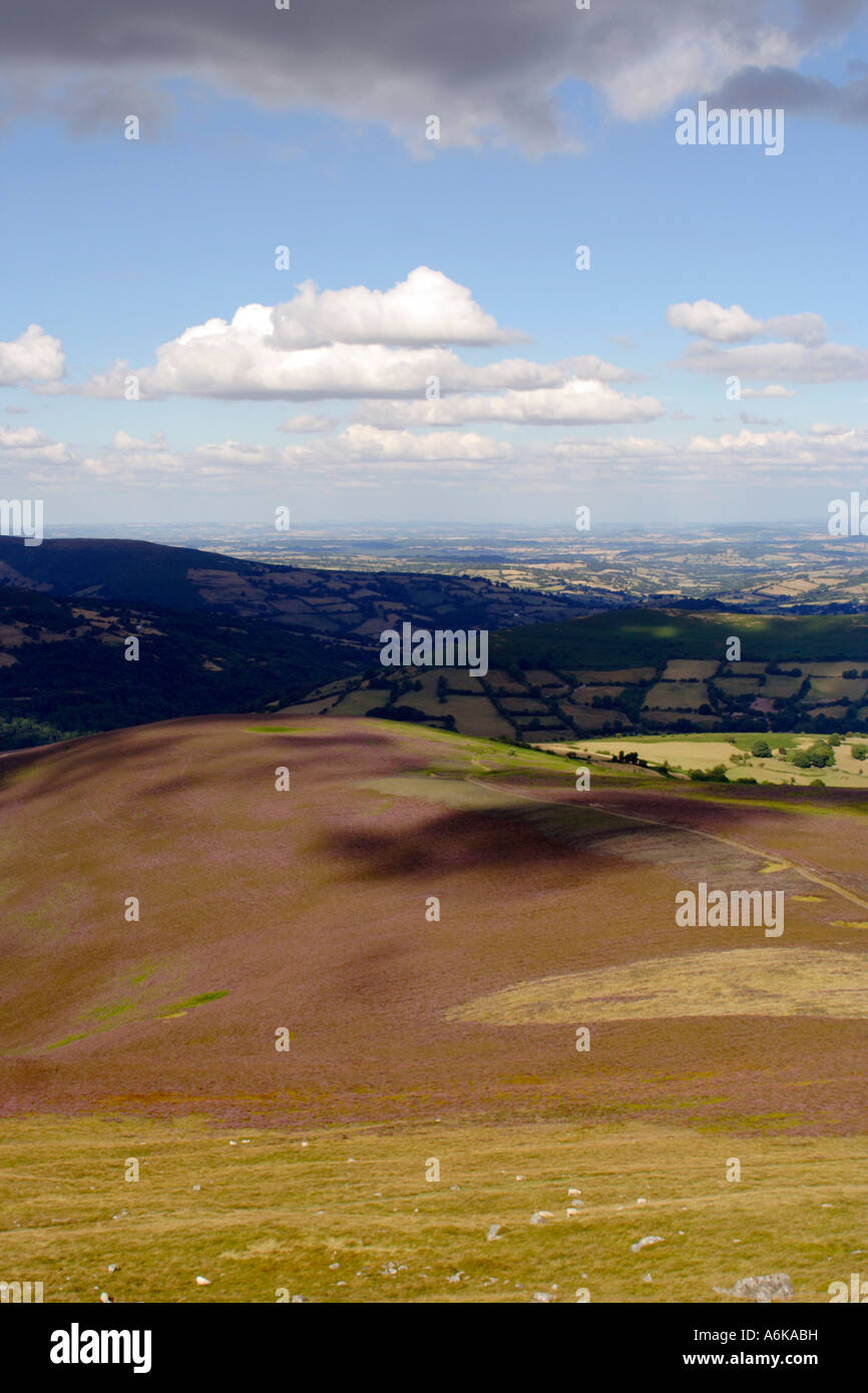 view from the top of sugar loaf mountain, wales, UK Stock Photo