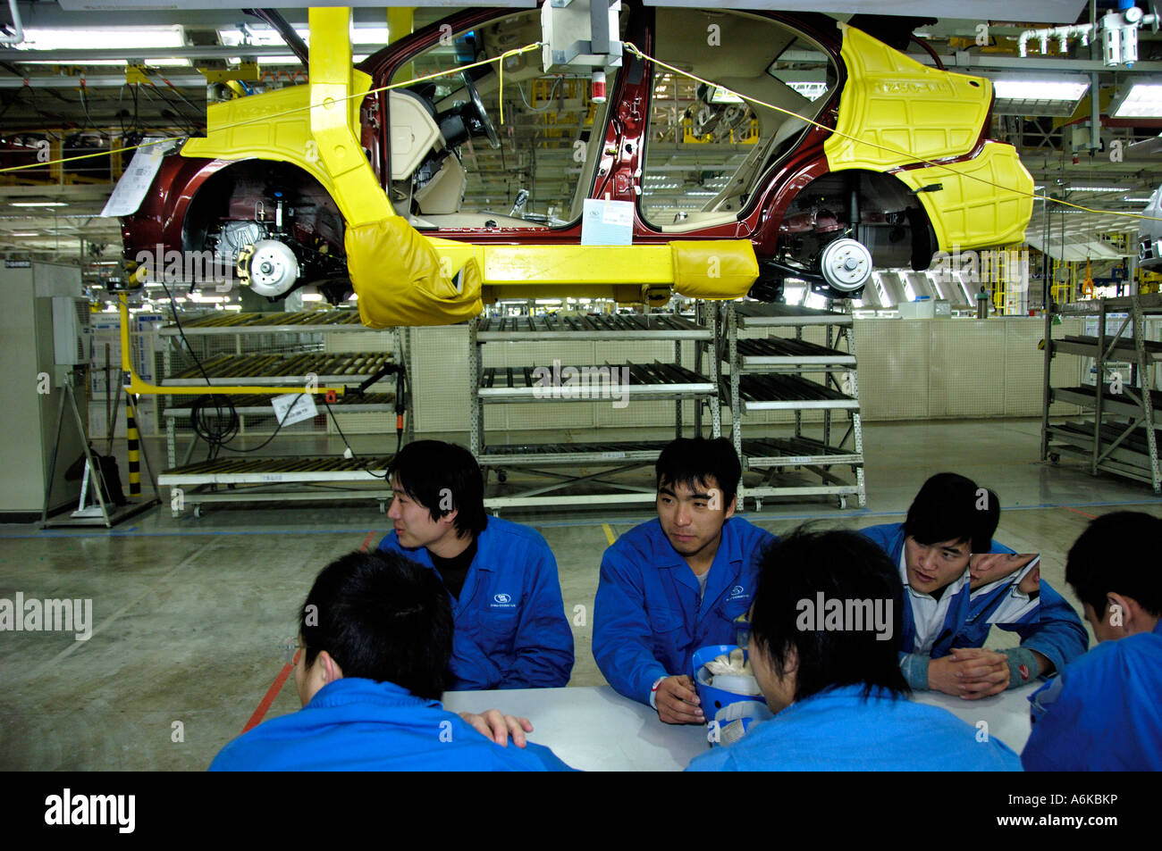 Assembly line of GM Chevrolet Sail in Yantai Shandong province China - Stock Image
