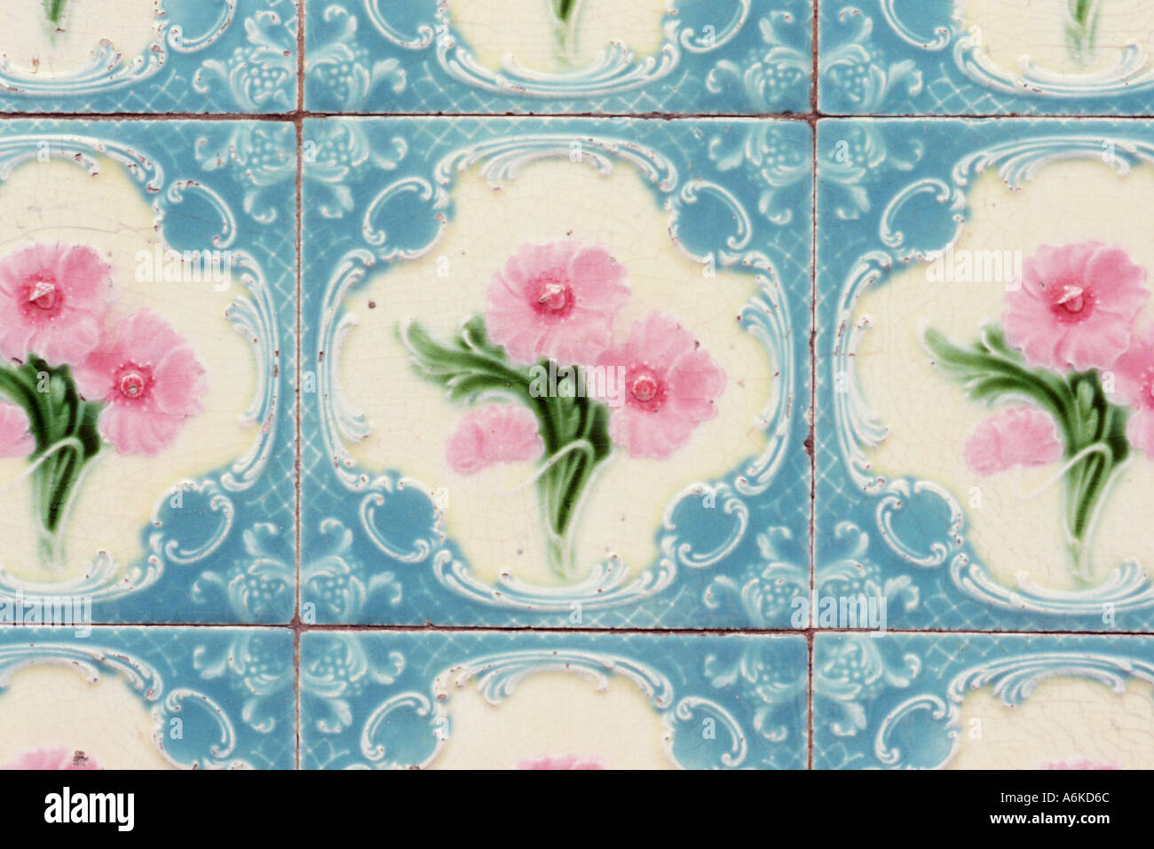 Asia Malaysia Kuala Lumpur Closeup of decorative tiles used on facades of traditional houses Flower motif - Stock Image