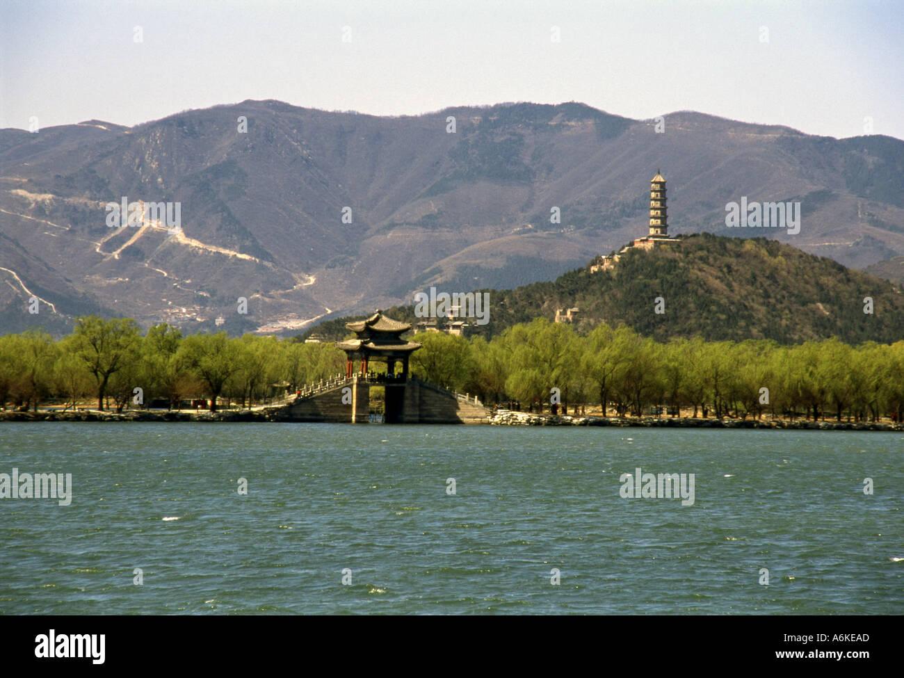 Kunming Lake Jade Spring Hill with Jade Peak Pagoda Summer Palace UNESCO World Heritage Site Beijing Peking China Asia Stock Photo