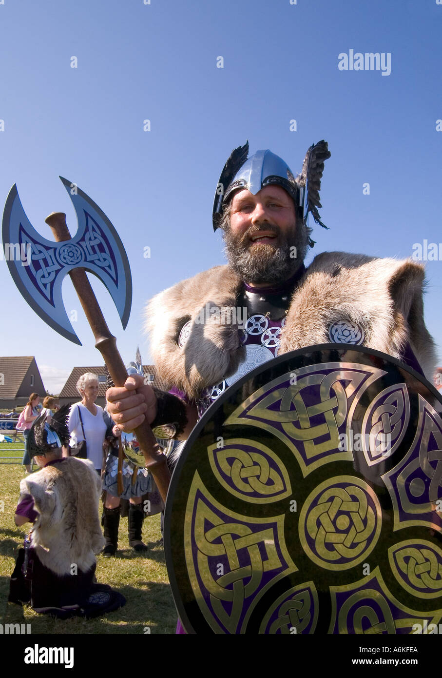 dh County Show KIRKWALL ORKNEY Shetland Jarl squad Viking dress shield helmet axe show ground Stock Photo