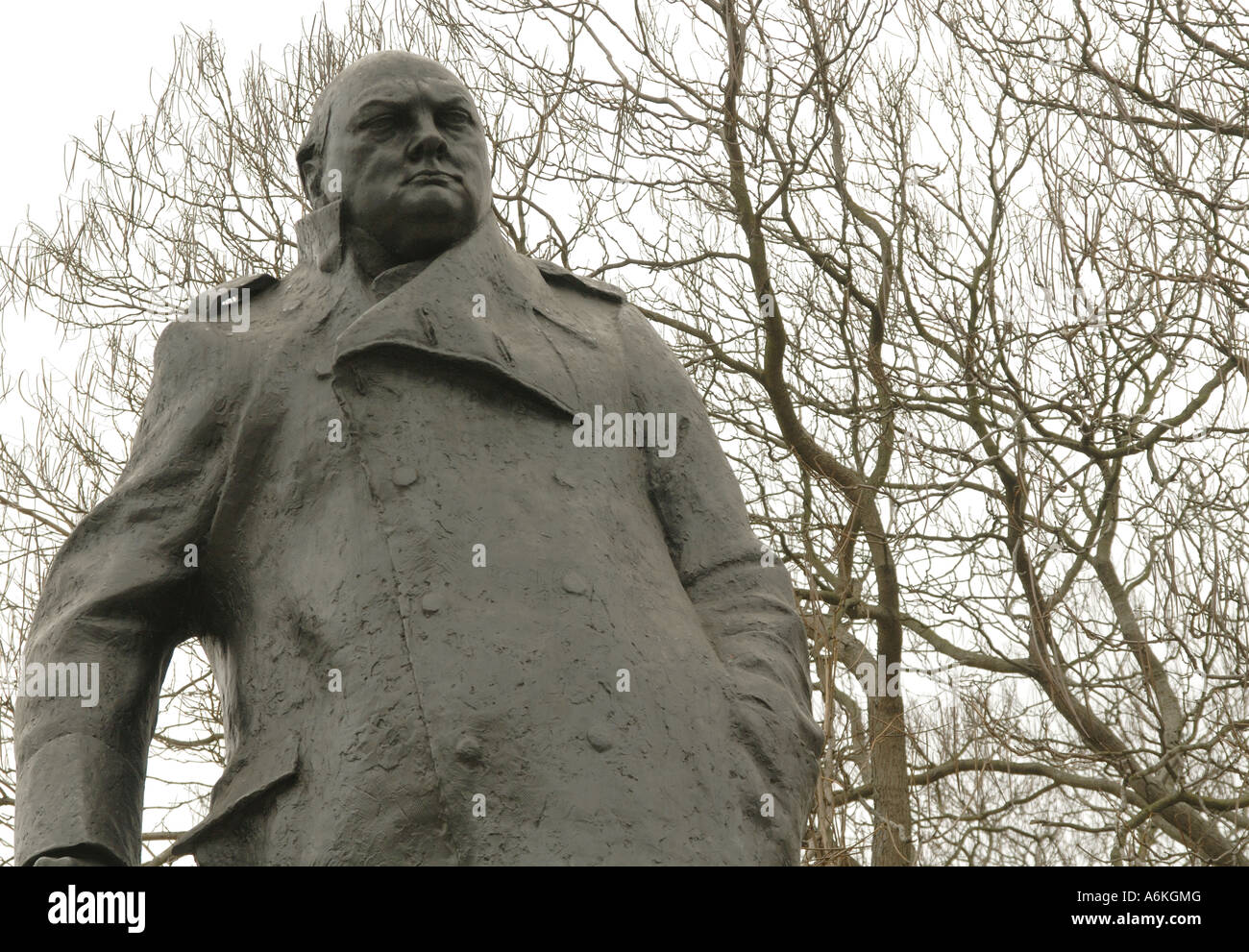 Statue of Winston Churchill in Westminster Square, London. - Stock Image