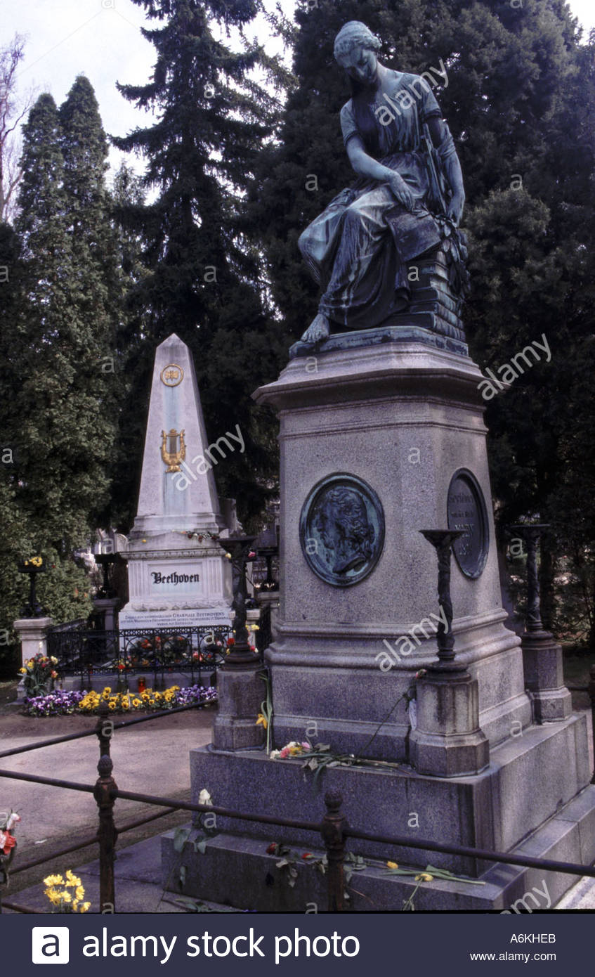 Vienna Austria  Composers graves in the Zentrale Friedhof Before Mozart mausoleum behind Beethoven grave - Stock Image