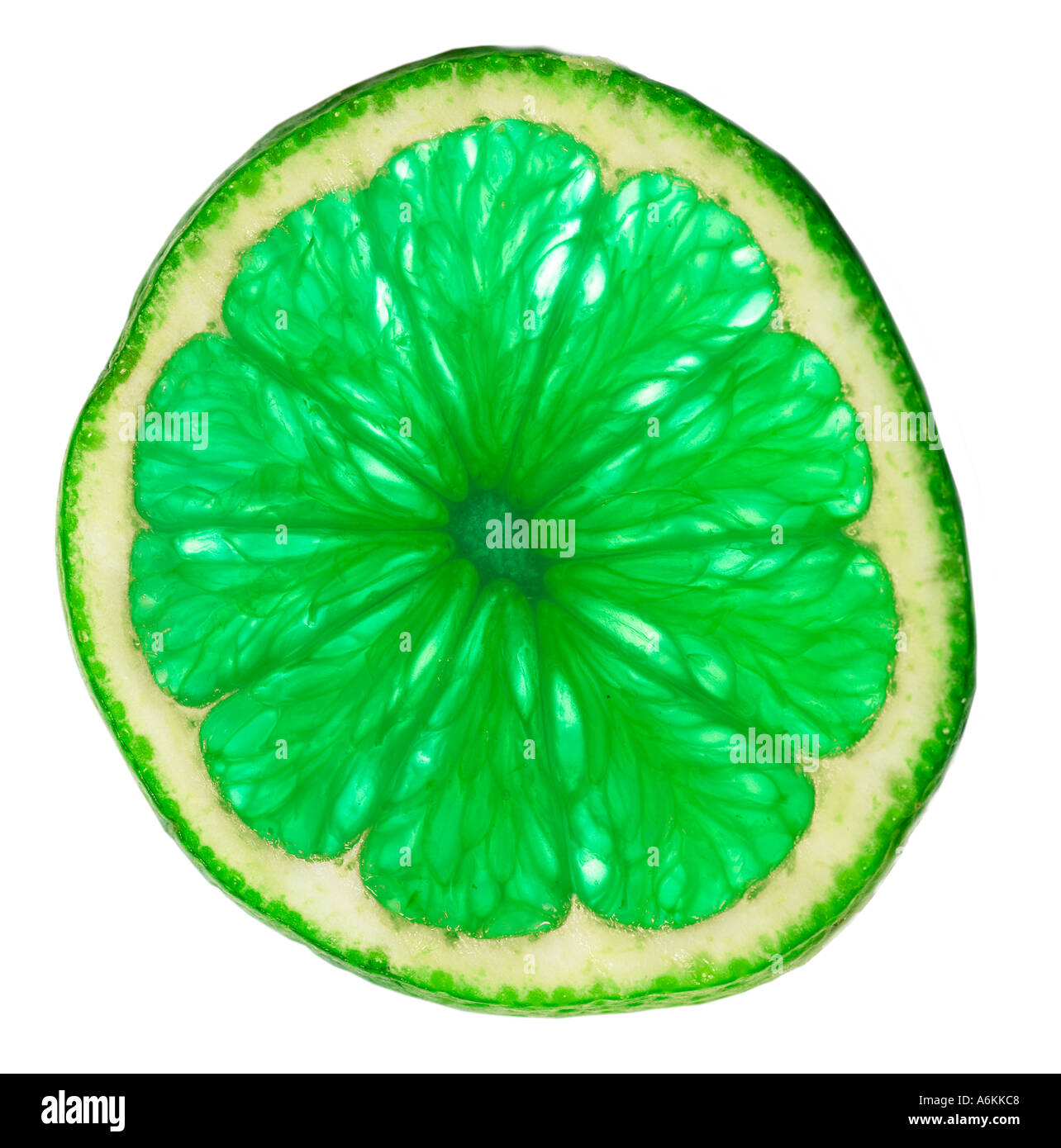 Single slice of lime (close-up) - Stock Image