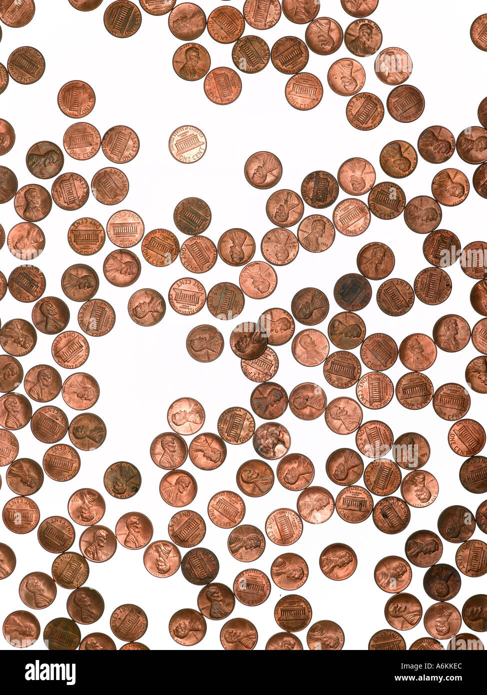 Composition of random order of 1cent coins - Stock Image