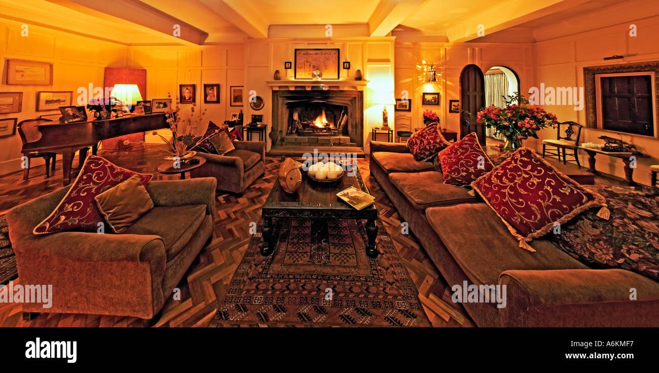 Giraffe Manor Safari Lodge Hotel Lounge interior Property released Nairobi Kenya - Stock Image