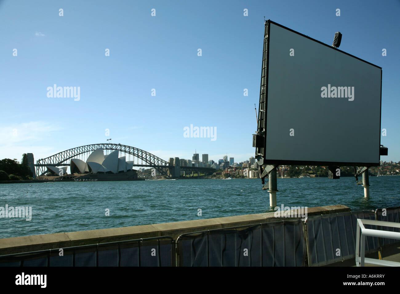 Open Air Cinema Screen, Sydney, Australia, January 2007 - Stock Image