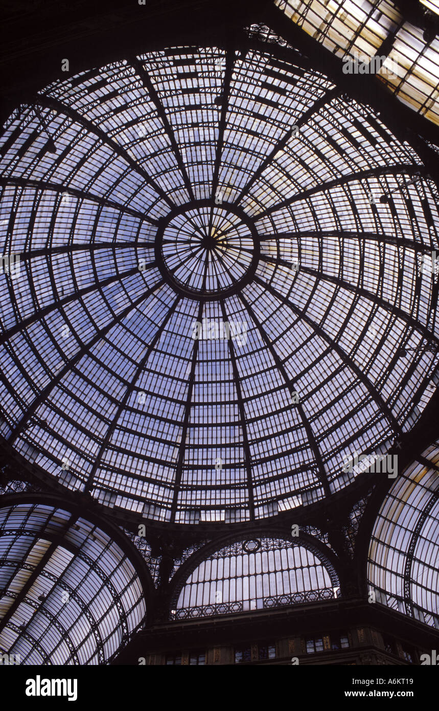 Looking up at the famous sun roof on the Galleria Umberto in Naples - Stock Image