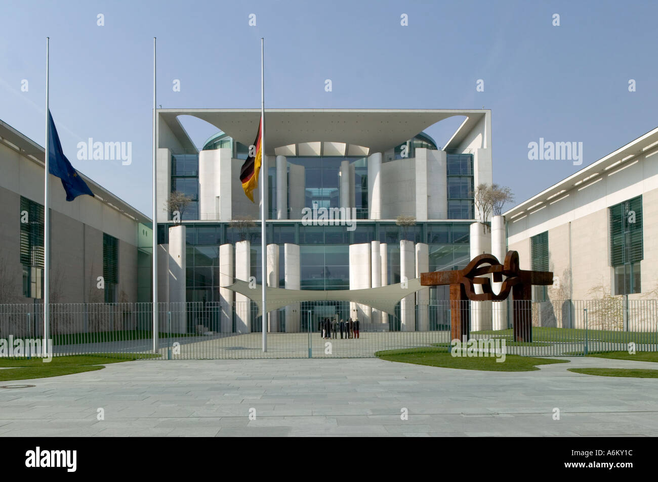 German Federal Chancellery, Berlin. Stone paved courtyard with Eduardo Chillida's sculpture on the right. - Stock Image