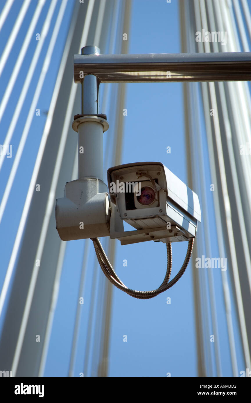 CCTV security surveillance camera Hungerford bridge Central London - Stock Image