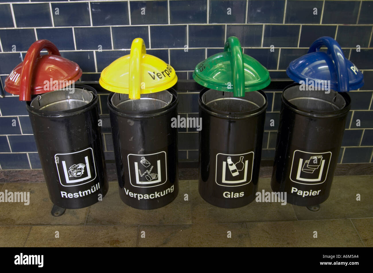 Color Coded Public Recycling Bins In German Train Station Berlin