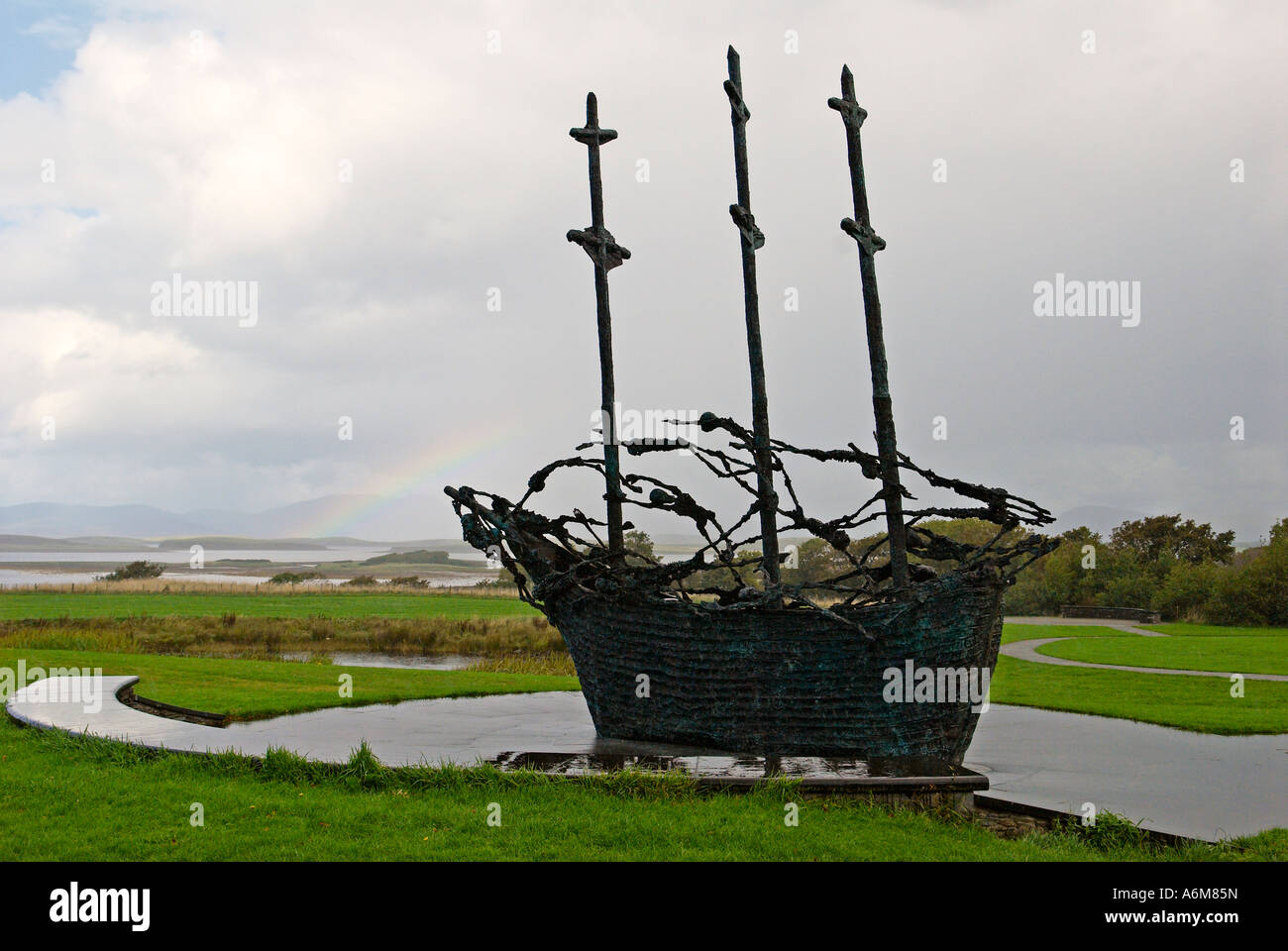 The National Famine Monument which is situated close to the Croagh Patrick Visitor Centre - Stock Image