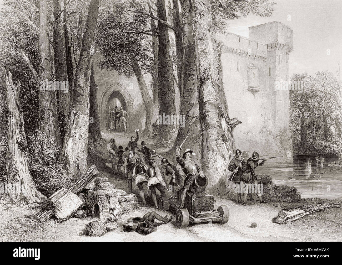 The Siege of Lathom House, Ormskirk, Lancashire in 1644 during English Civil War - Stock Image
