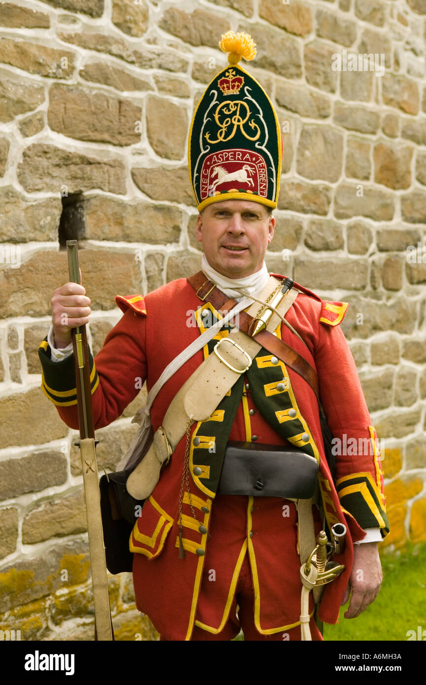 Grenadier reenactor Old Fort Johnson Mohawk Valley 250th anniversary French and Indian War Amsterdam New York - Stock Image