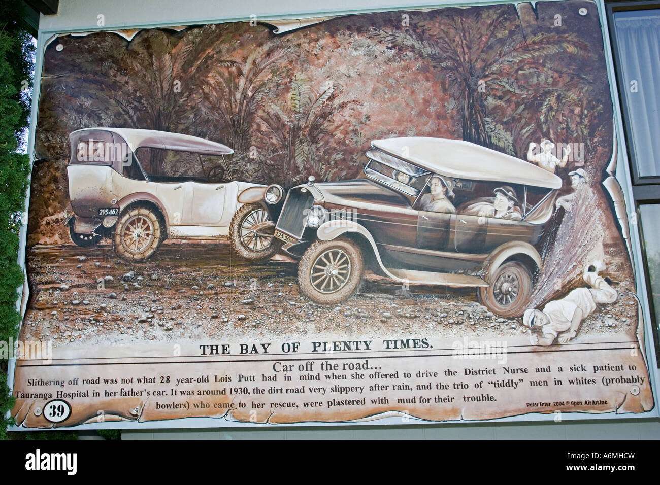 Large mural of old motor cars stuck in mud taken from Bay of Plenty ...