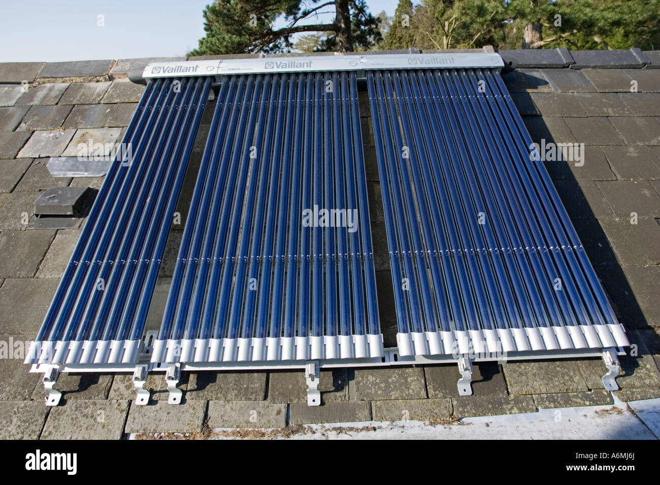 Bank of roof mounted Vaillant aurotherm evacuated tube solar collectors installed on slate roof Cotswolds UK - Stock Image