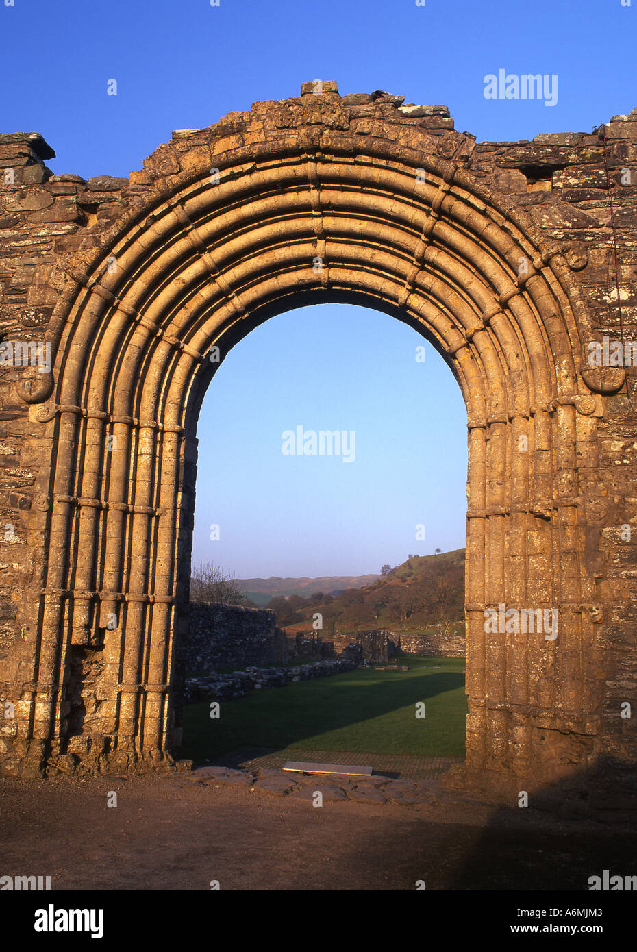Strata Florida Abbey Ruin Romanesque Norman rounded archway Near Pontrhydfendigaid Ceredigion Mid Wales UK - Stock Image