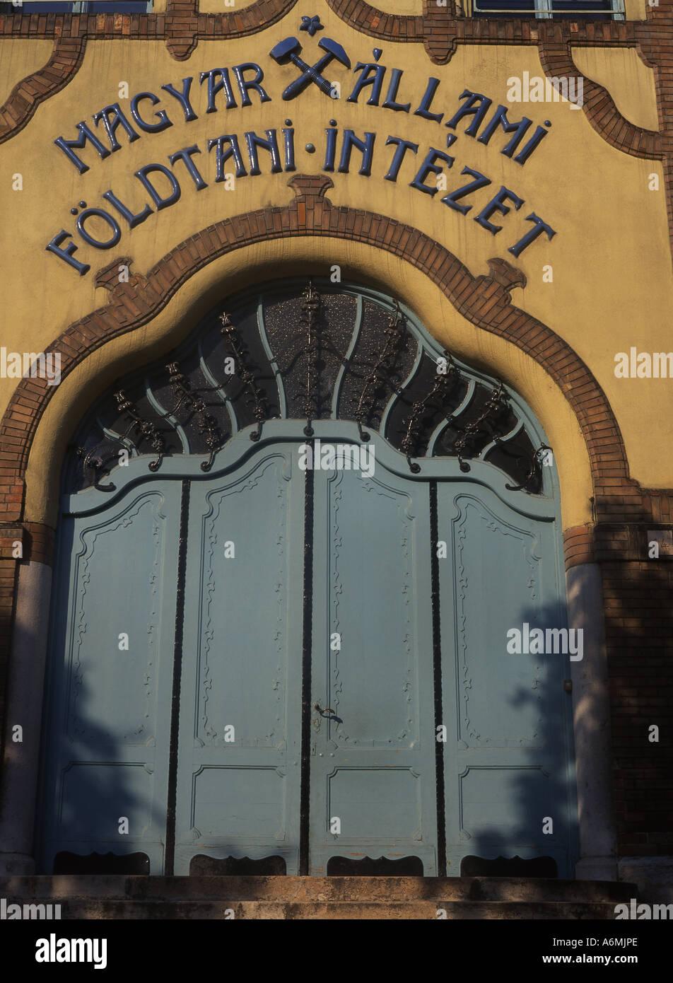 Hungarian National Geological Institute Magyar Allami Foldtani Intezet Art Nouveau building by Odon Lechner Budapest Hungary - Stock Image