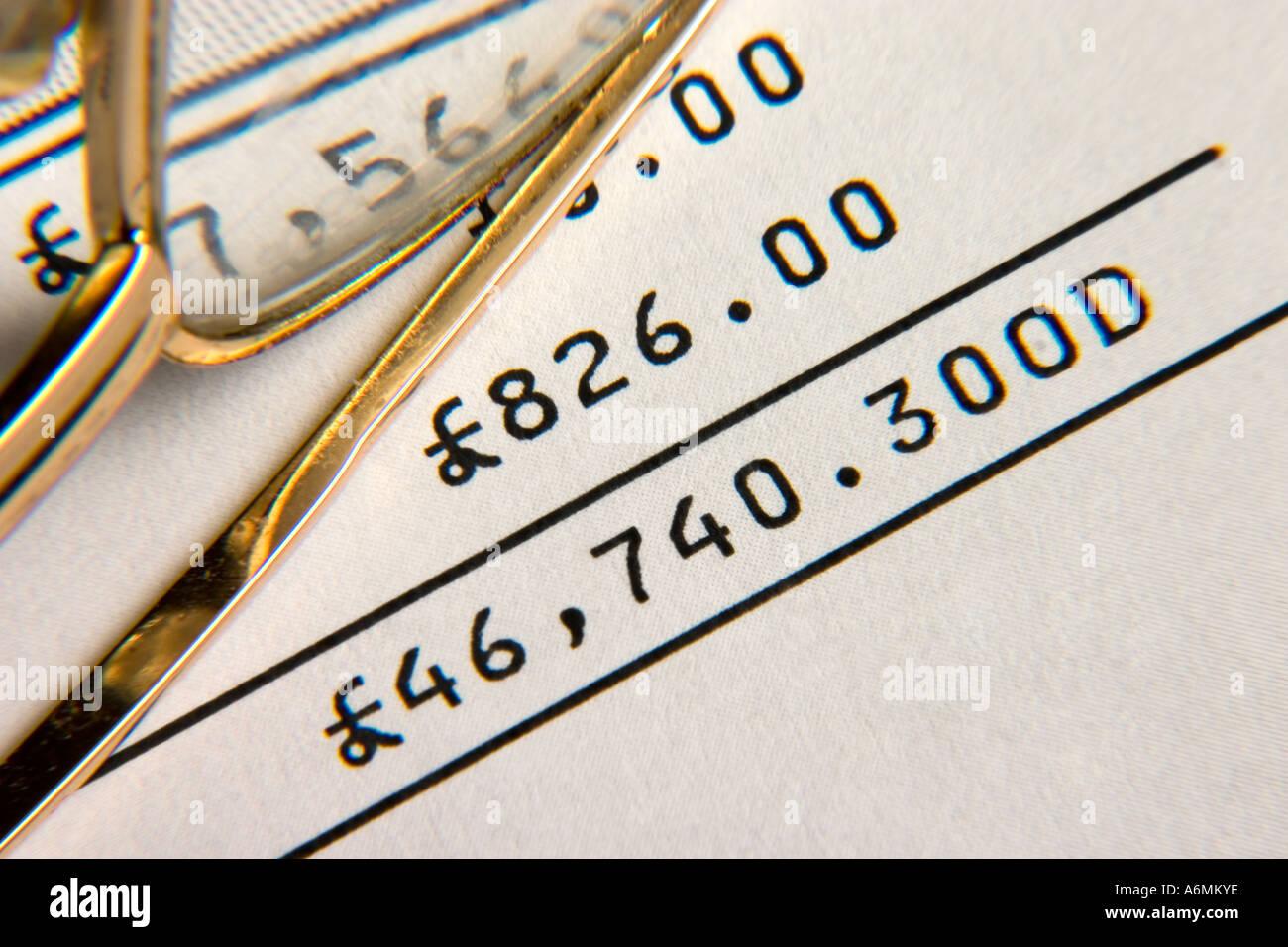 Overdrawn bank statement - Stock Image