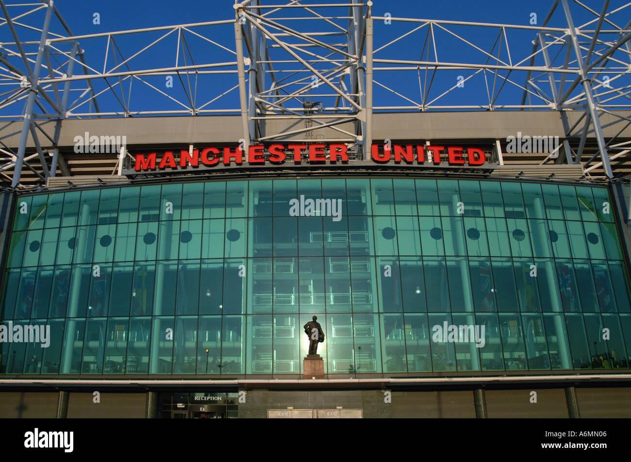 manchester united football ground old trafford front entrance stock photo alamy https www alamy com manchester united football ground old trafford front entrance image3790085 html