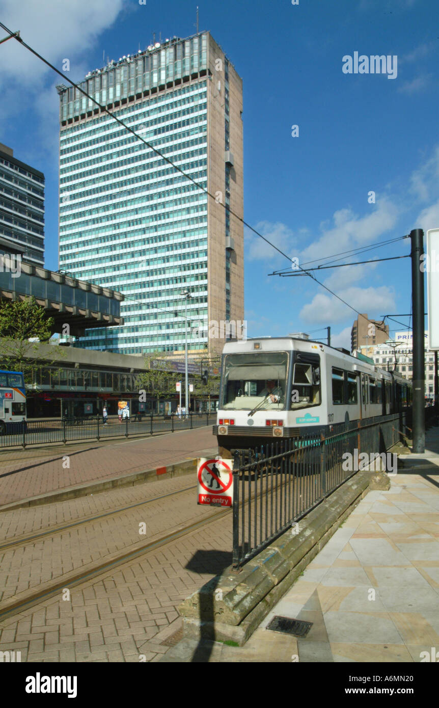 Metro and plaza Piccadilly Gardens Manchester City centre UK Europe Stock Photo