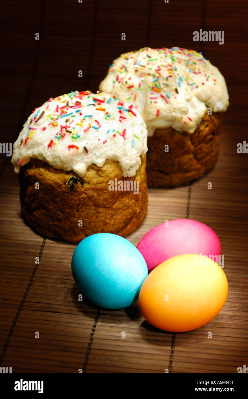 Composition Easter Eggs Fancy Pastries Stock Photos