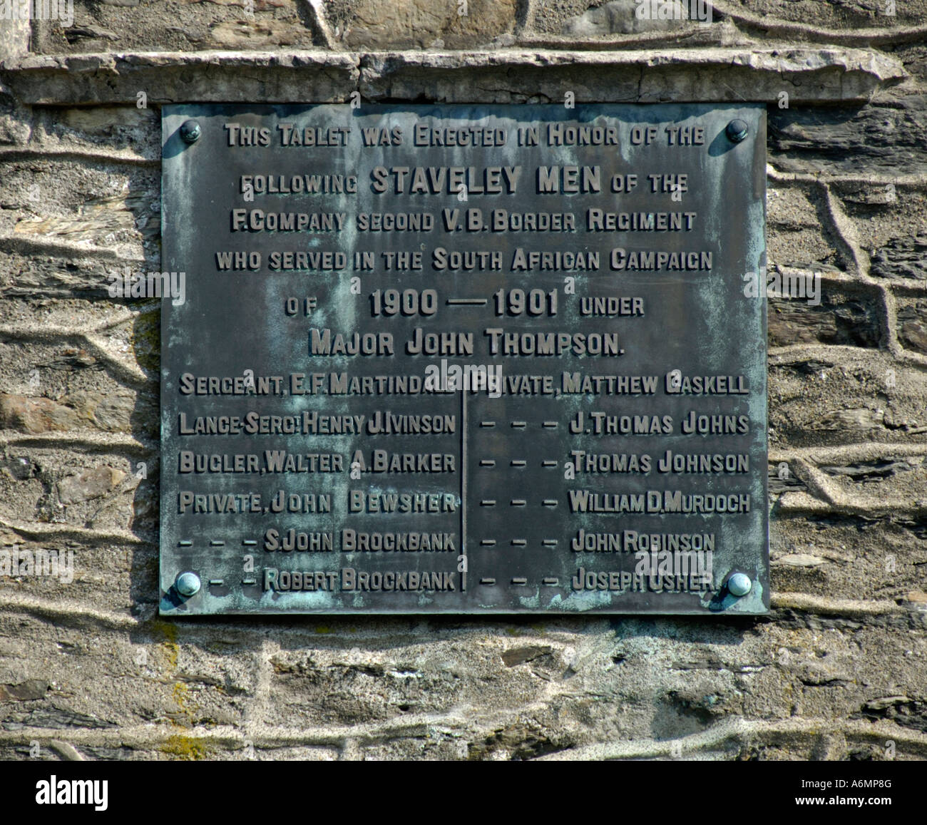 Memorial commemorating the South African (Boer) War. Tower of Saint Margaret's Chapel, Staveley. Lake District - Stock Image