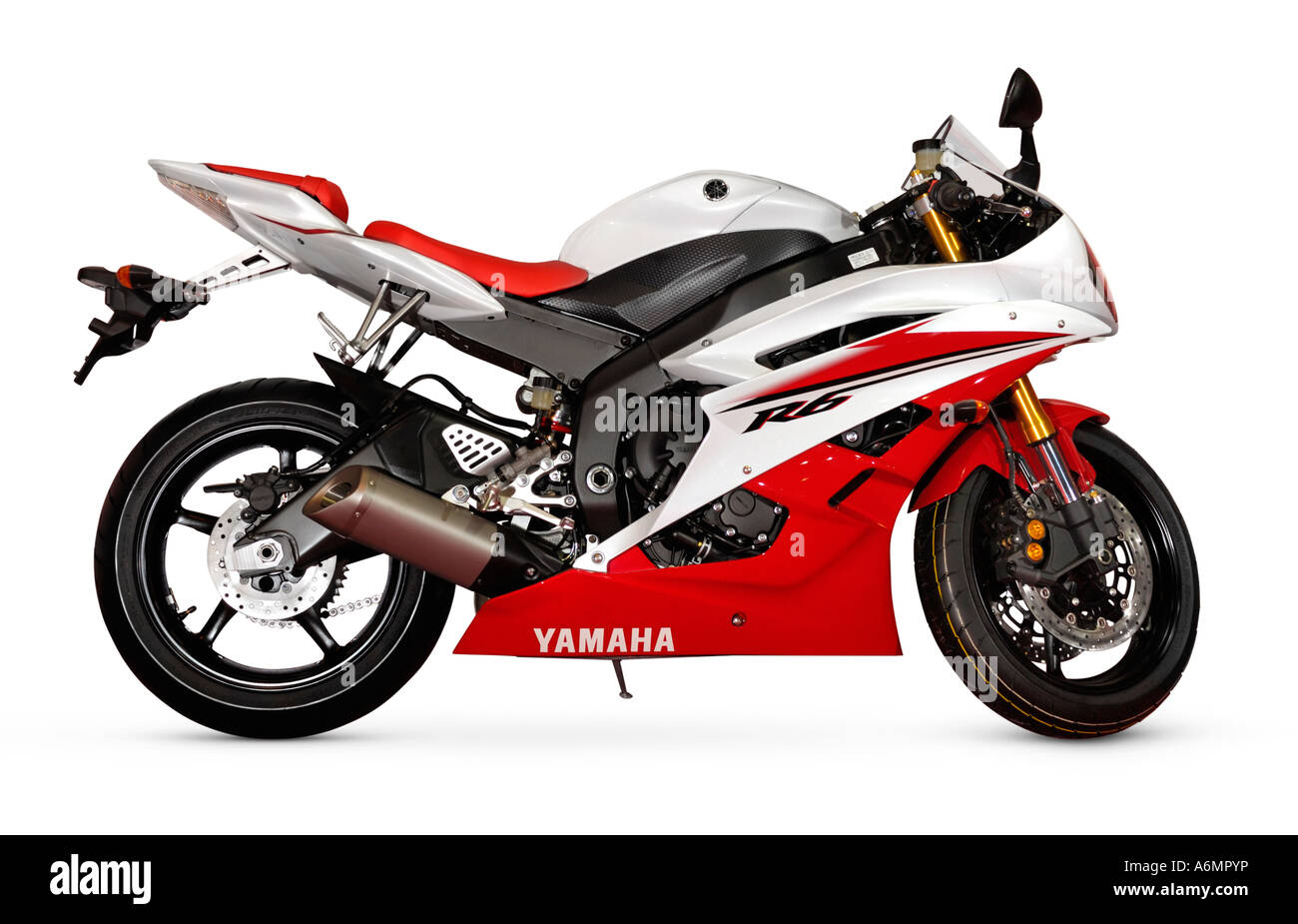 Middleweight supersport bike Yamaha YZF R6 2006 red white racing motorcycle - Stock Image