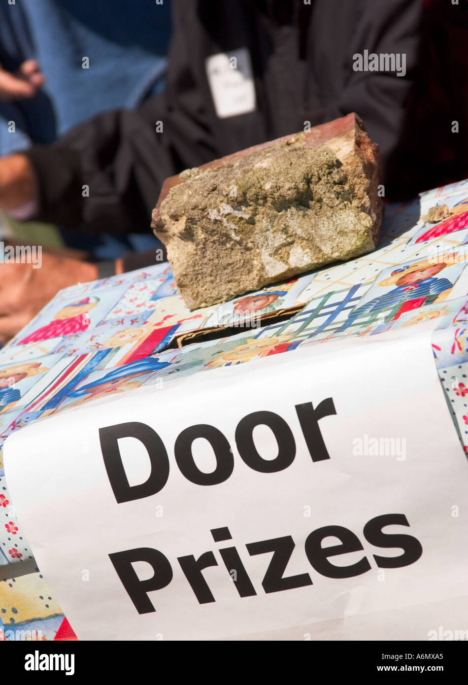 stock photo showing door prizes ticket box at heath springs school
