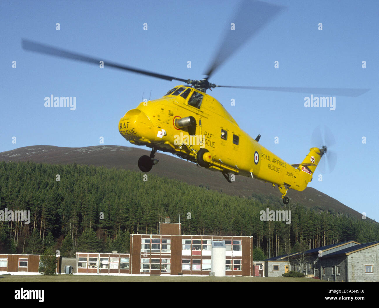 Westland Wessex Helicopter Search and Rescue at Glenmore, Cairngorms Aviemore.   GAV 2291-239 Stock Photo