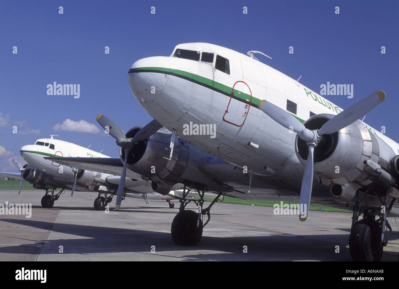 Douglas DC3 Oil Pollution Dispersant Agent Control  Aircraft.   GAV 2277-237 - Stock Image