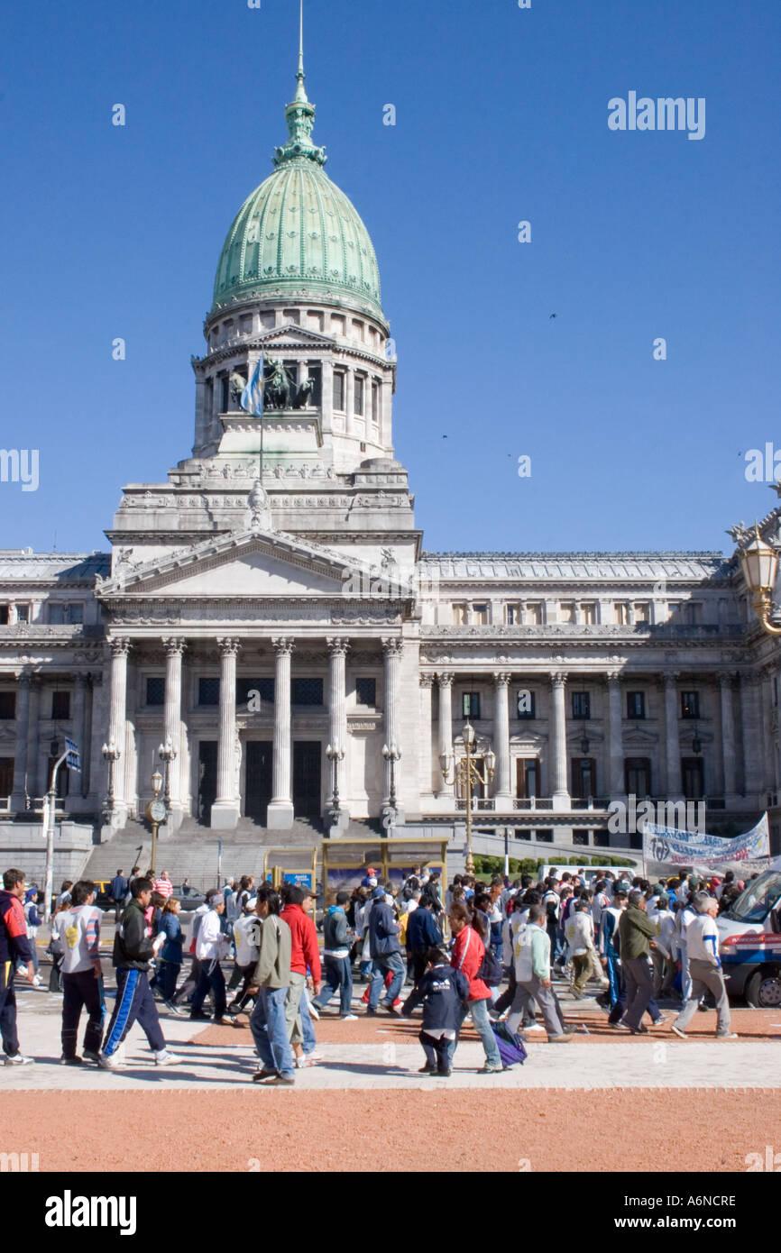Protest march oustside the Plaza del Congreso Stock Photo