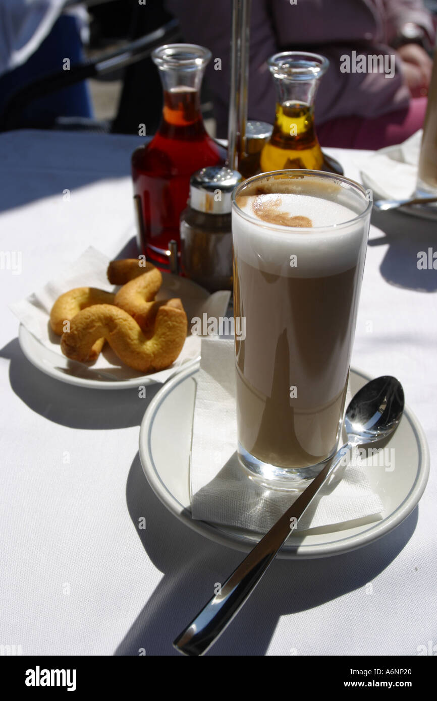 Cafe Latte a favourite type of Coffee with hot milk in Venice Italy - Stock Image