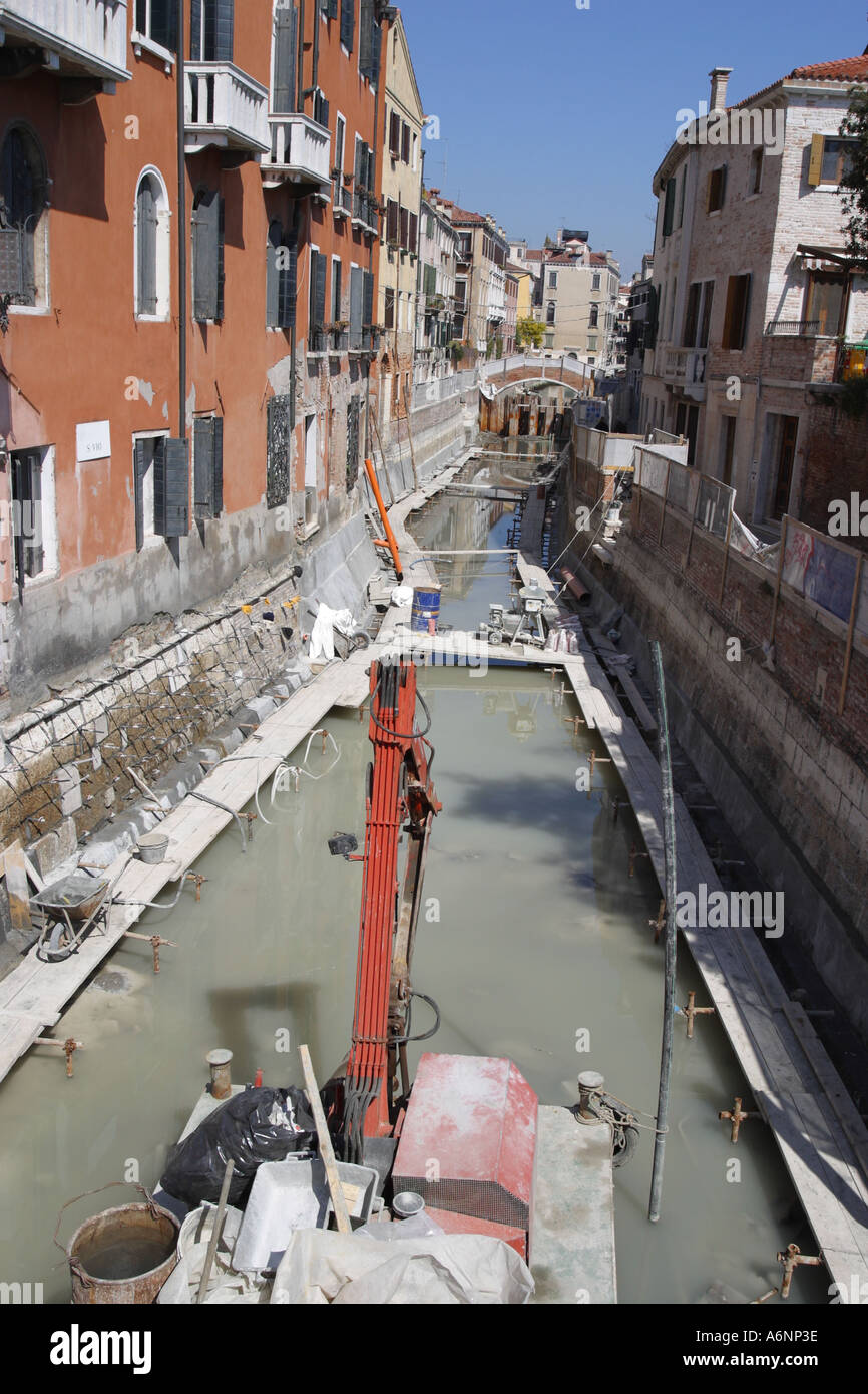 Venice Italy partially drained canal under repair Venice Italy - Stock Image