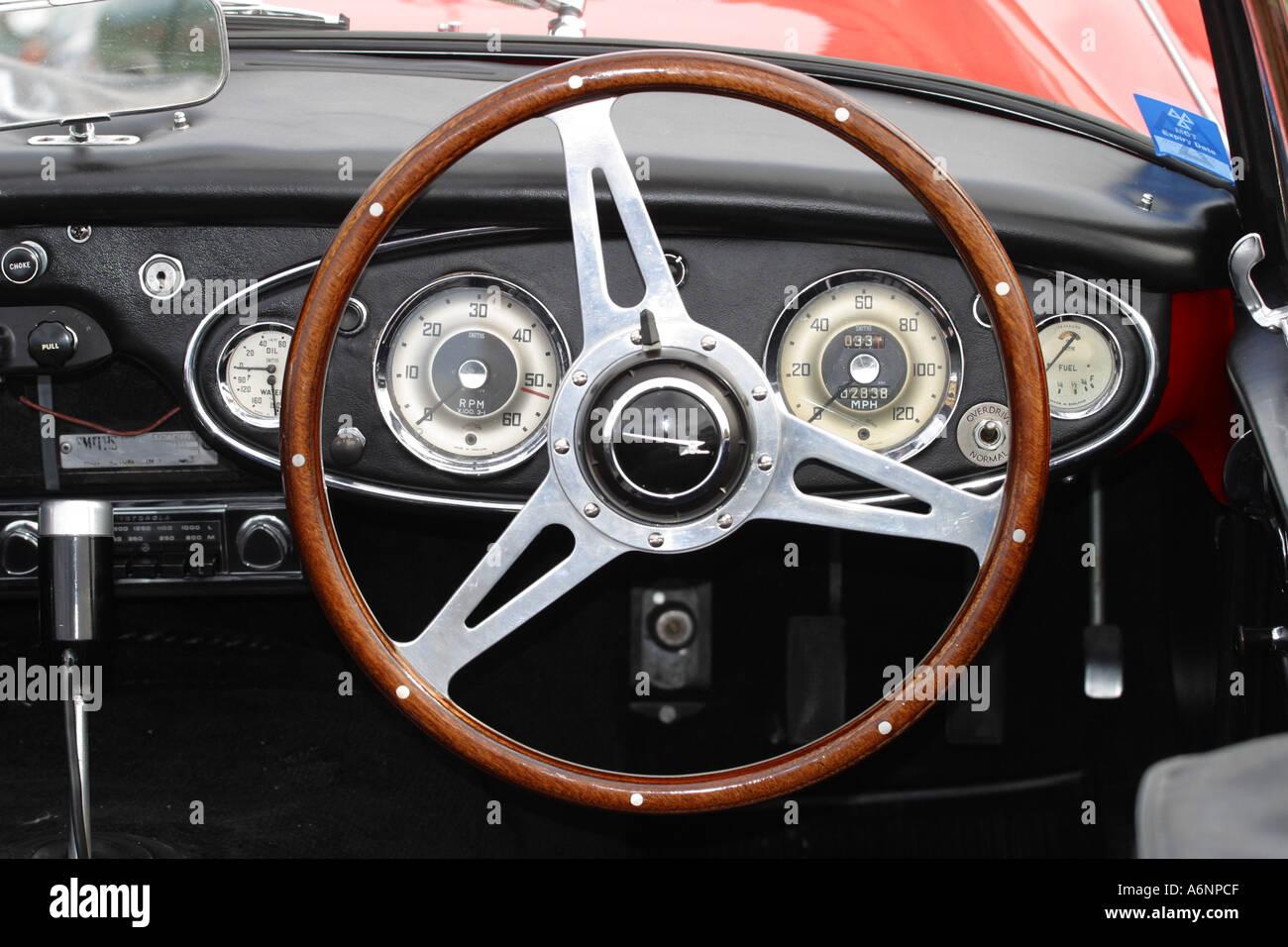 Austin Healey 3000 Sport Car Dashboard And Steering Wheel