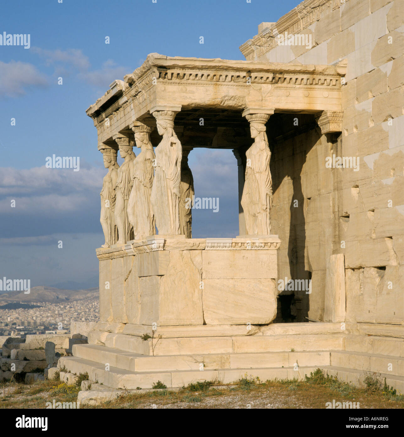 Statues of the caryatid maidens on the Erechtheion dating from 406 BC Acropolis UNESCO World Heritage Site Athens - Stock Image