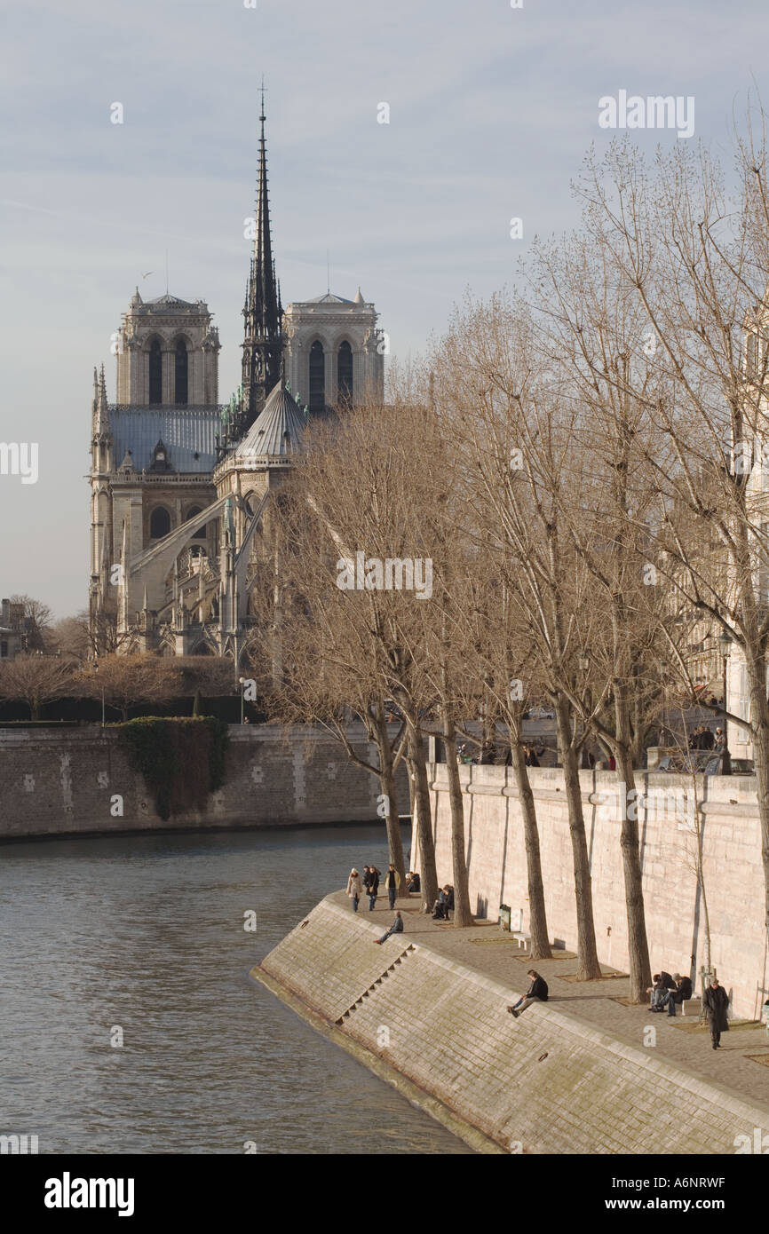 View of Notre dame cathedral from deux ponts bridge - Stock Image