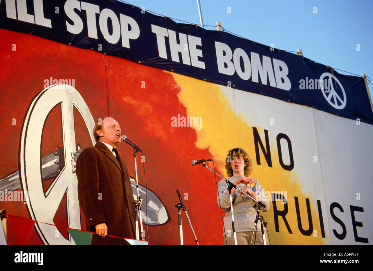 Neil Kinnock addressing a 1983 rally in Hyde Park London organised by CND against Cruise and Trident nuclear missiles. - Stock Image