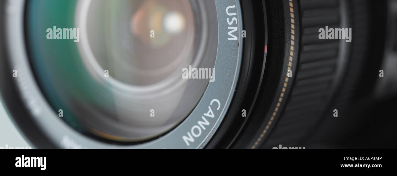 panoramic close up of a DSLR camera lens - Stock Image