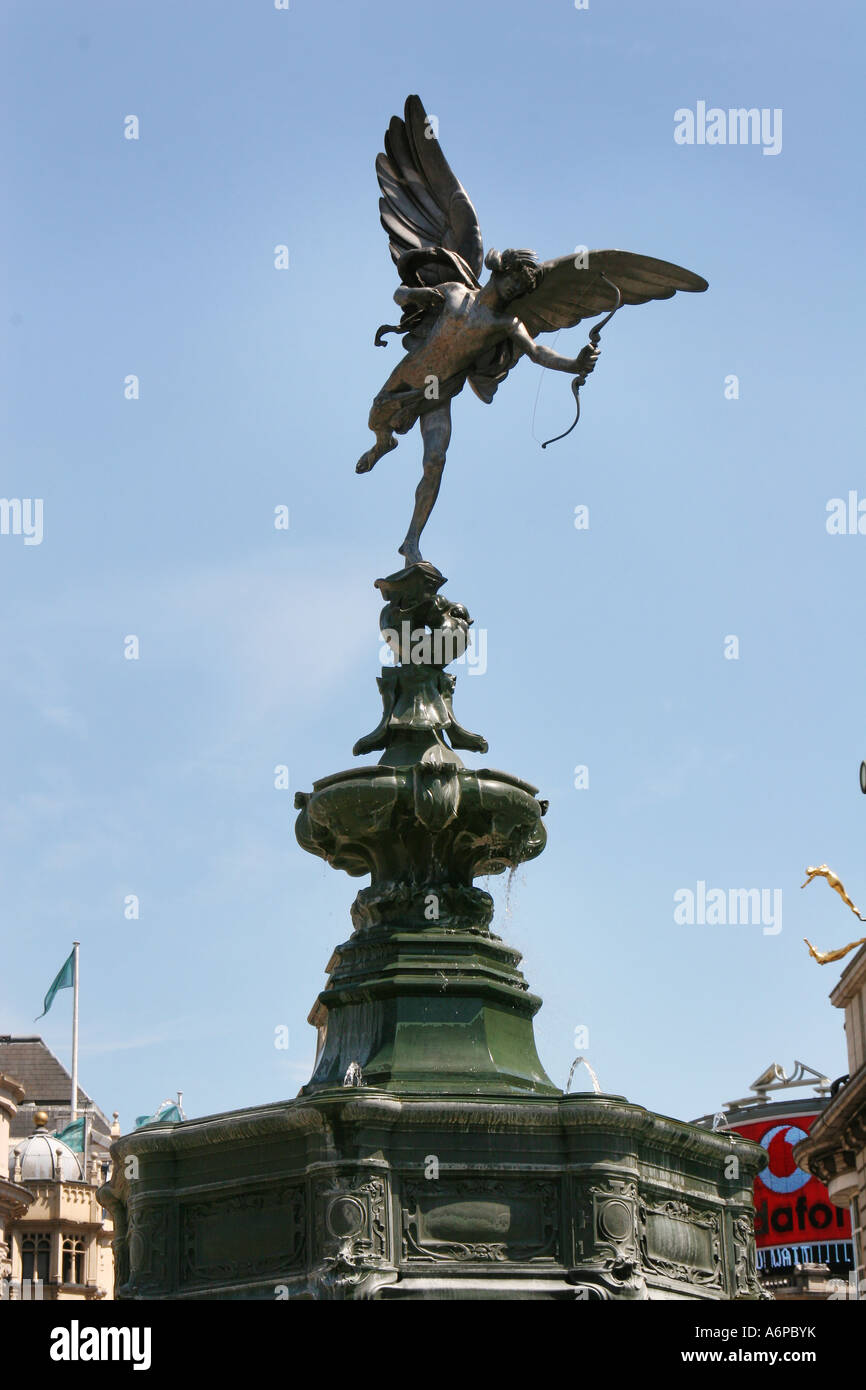 statue of eros in piccadily circus. - Stock Image